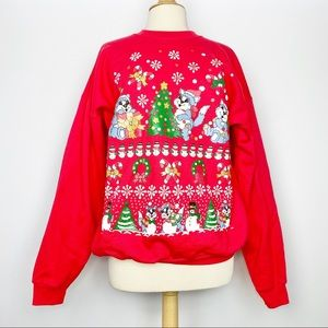Vtg 80s 90s Christmas Cat puff holiday sweatshirt